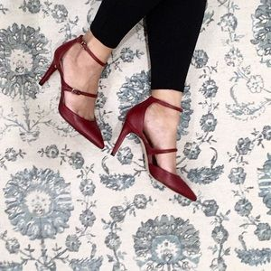 BCBGMAXAZRIA Red Leather Strap Heel Pumps Size 37